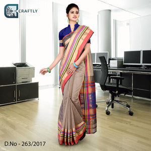 Brown with multi-color border uniform saree