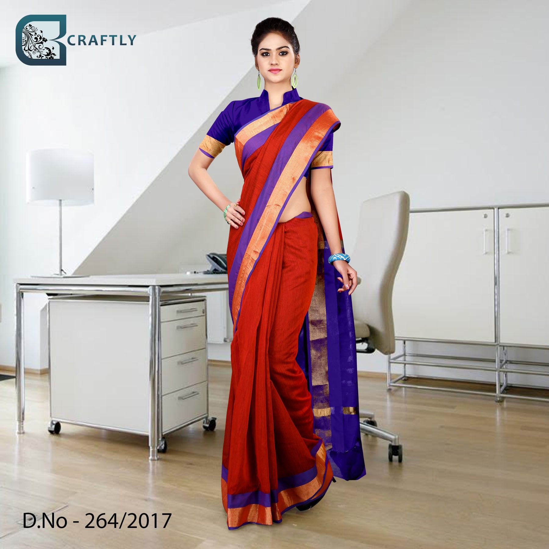 Blue red with golden border uniform saree