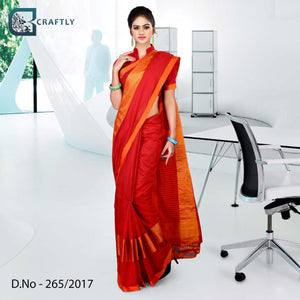 Orange and red uniform saree