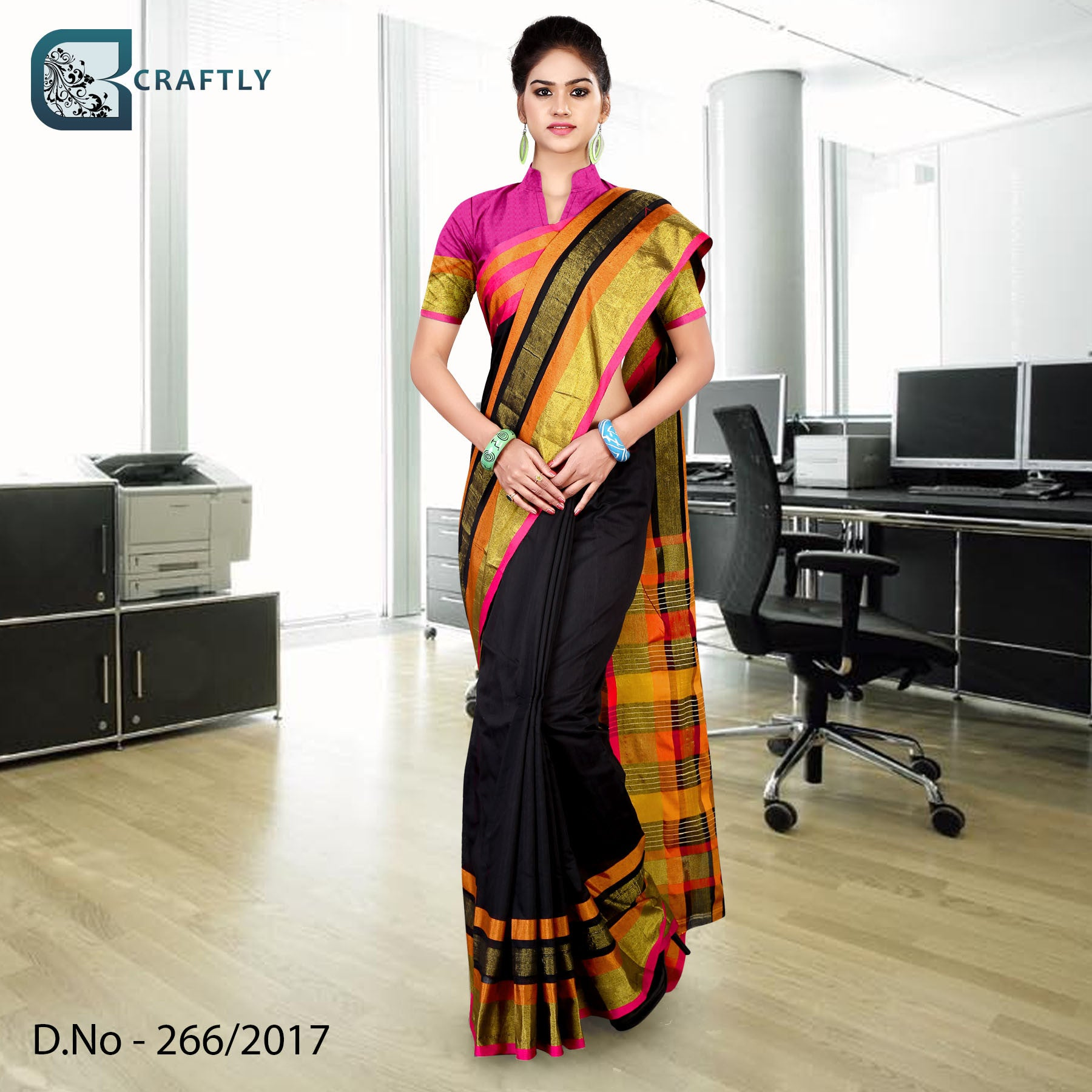 Golden and black uniform saree