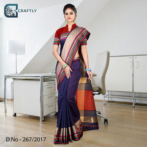 Blue with multi clolor uniform saree