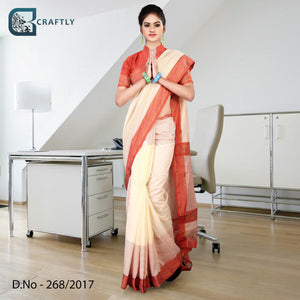 Cream and orange uniform saree