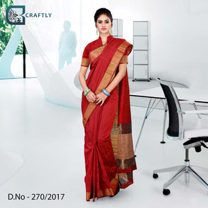 Red with golden border uniform saree
