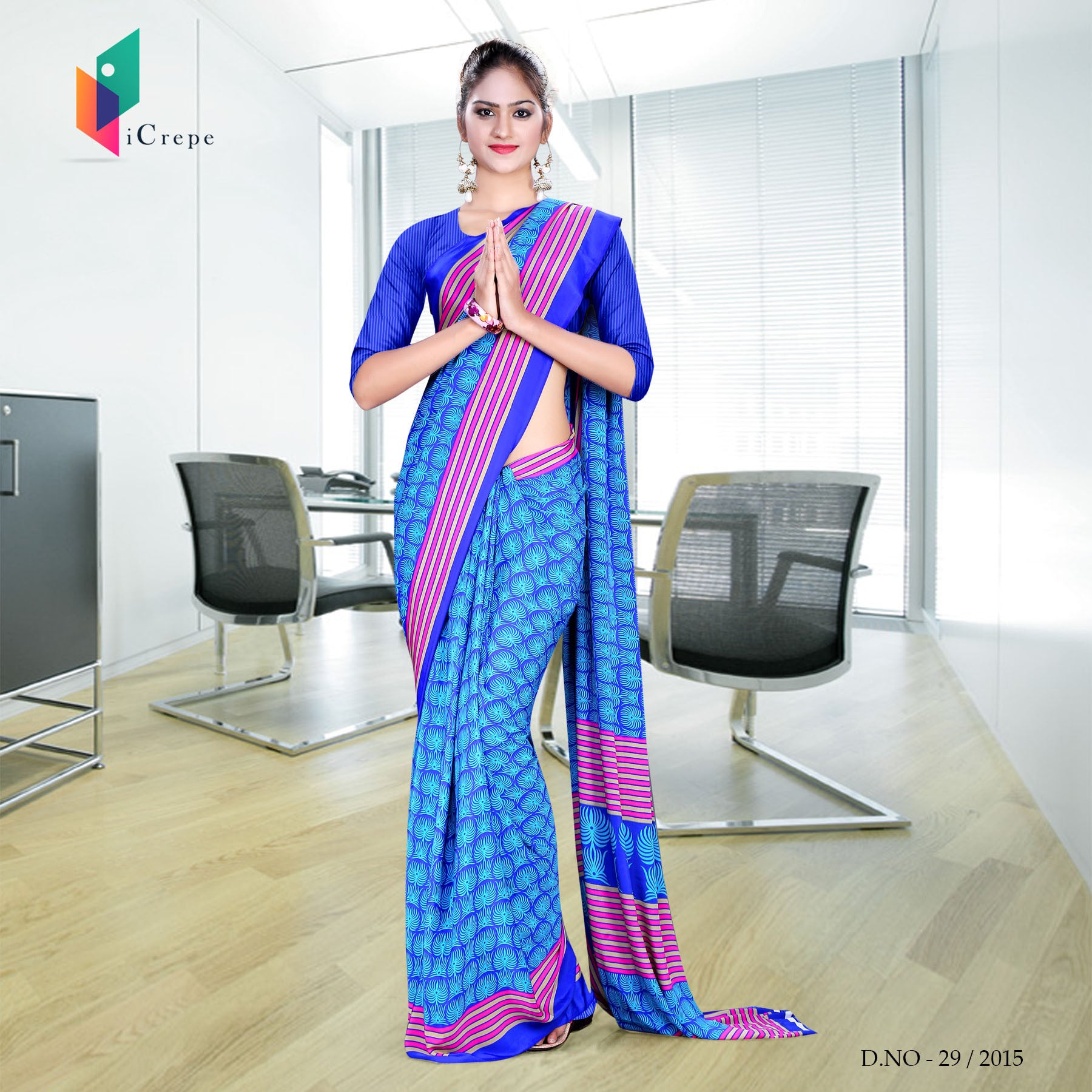 Blue and pink Italian Crepe Uniform Saree