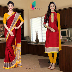 Maroon and yellow italian crepe silk institute uniform saree salwar combo