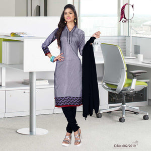 Grey with black border tripura cotton hospital uniform salwar kameez