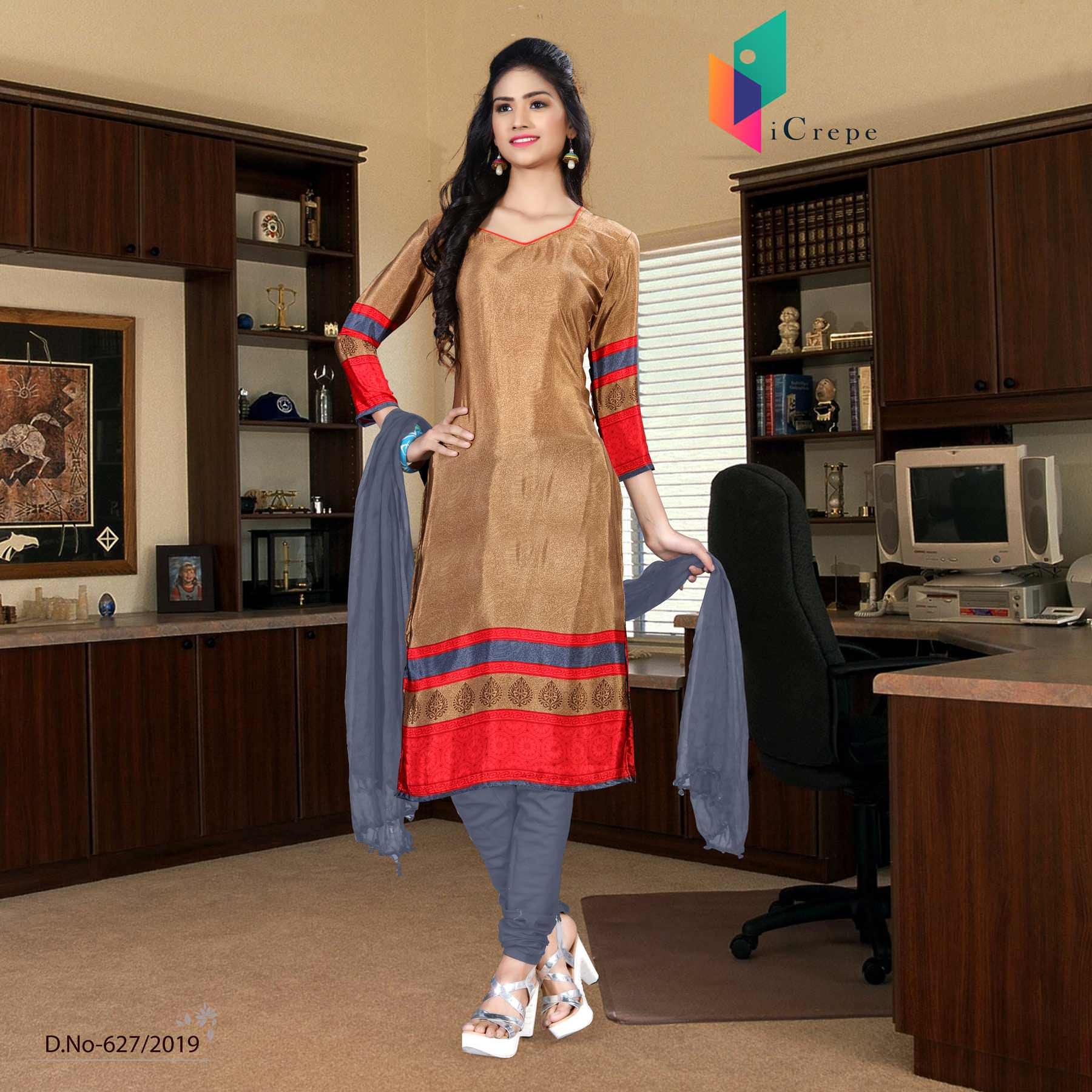 Brown and purple italian crepe silk institute uniform salwar kameez