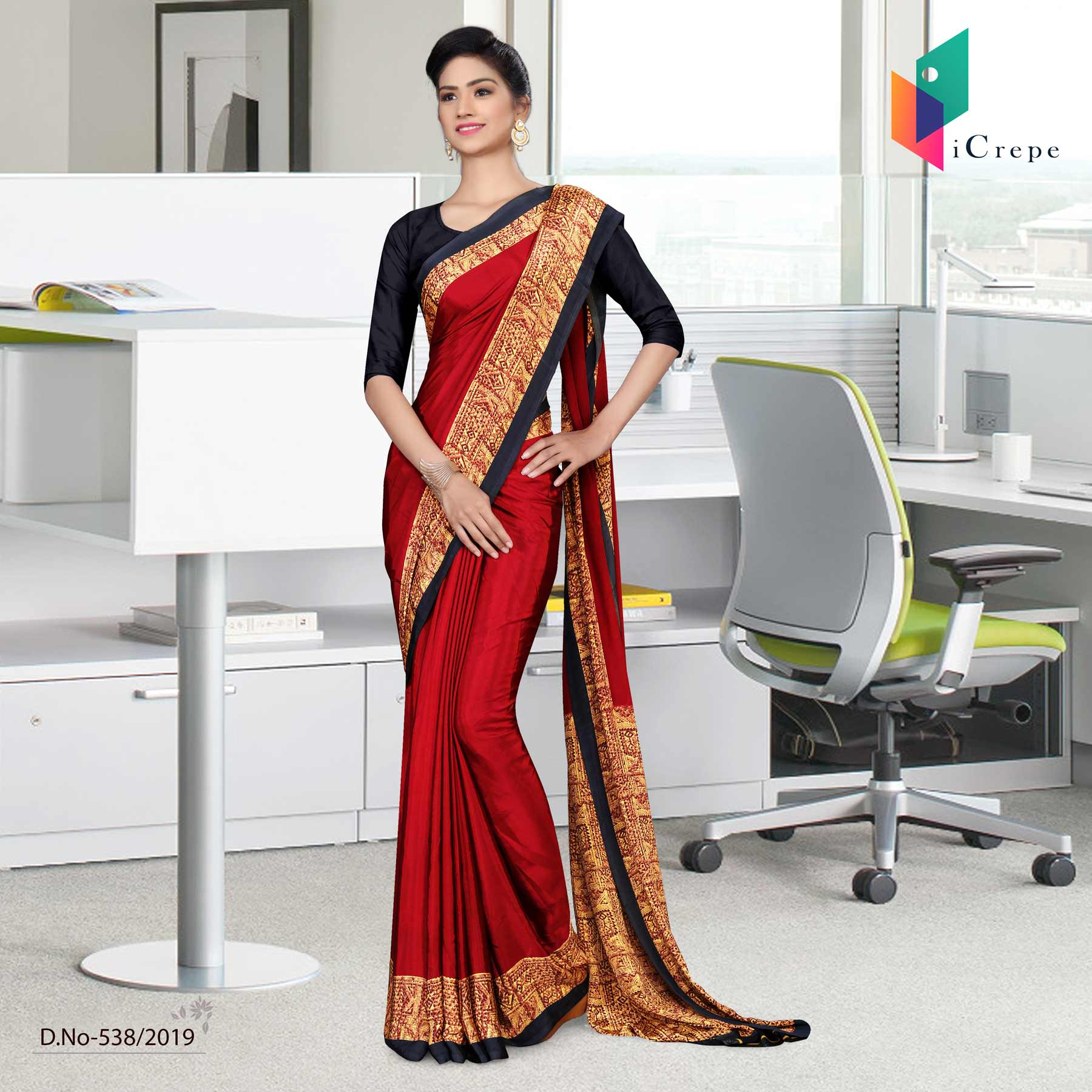 Maroon and black italian crepe silk hospital uniform saree