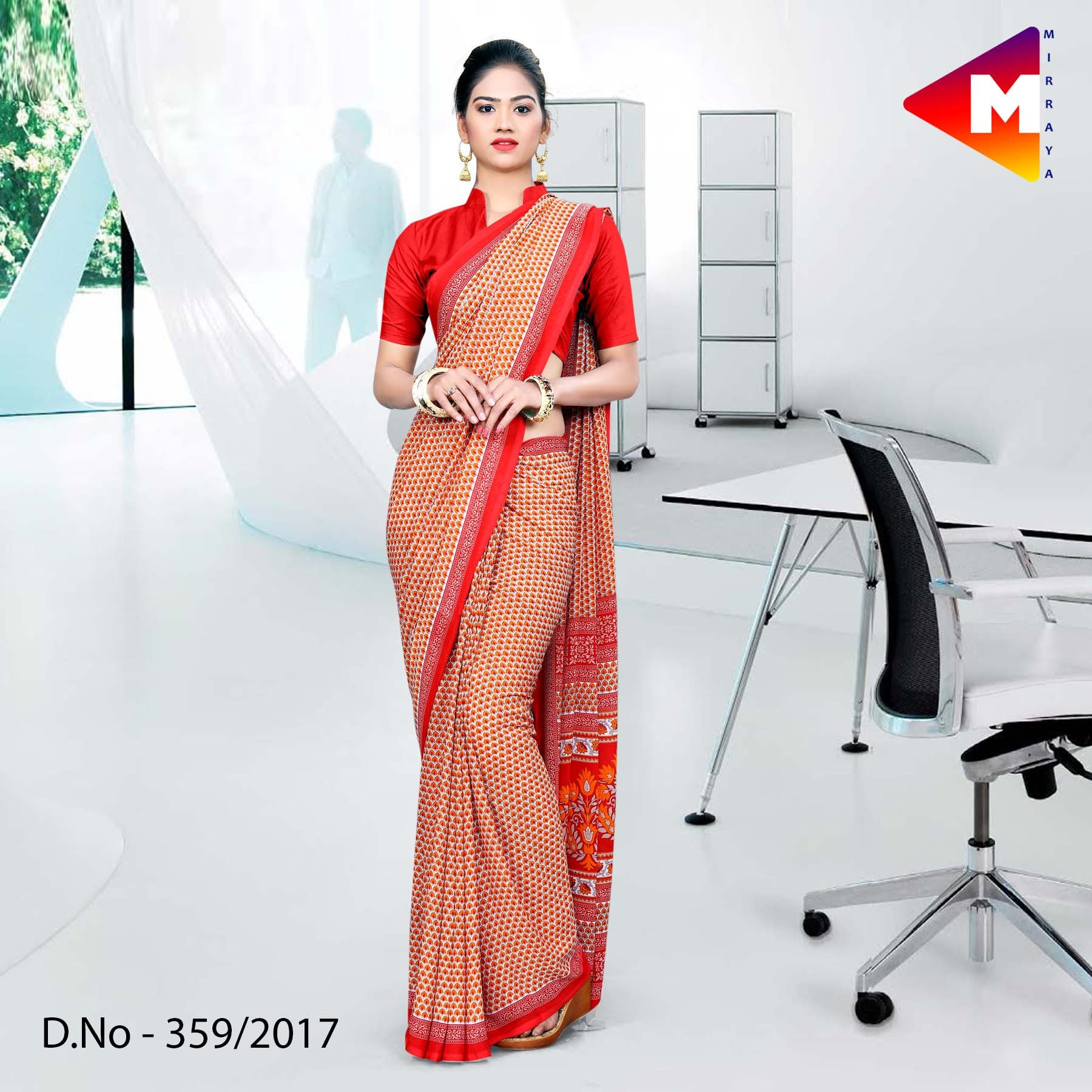 Brown and red Georgette Uniform Saree