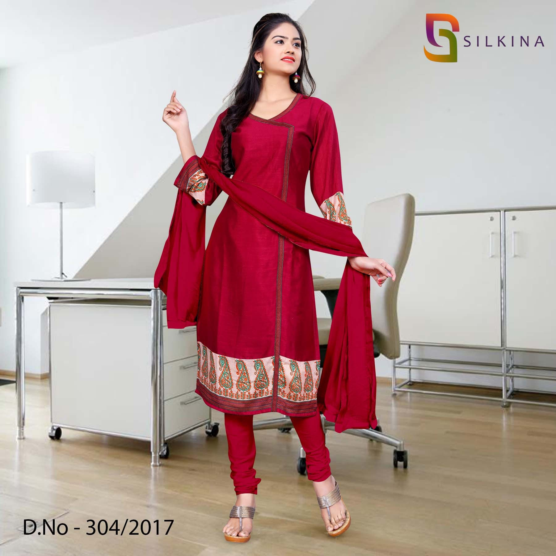 Maroon Silk Georgette Uniform Salwar Kameez