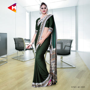Dark Green Georgette Uniform Saree