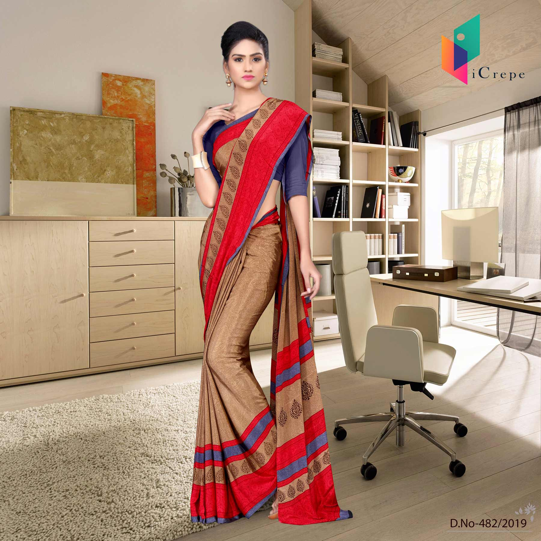 Brown and purple italian crepe silk hospital uniform saree