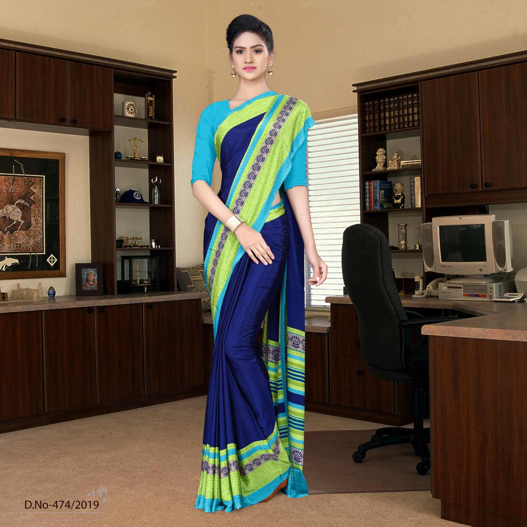 Dark blue and turquoise italian crepe silk institution uniform saree