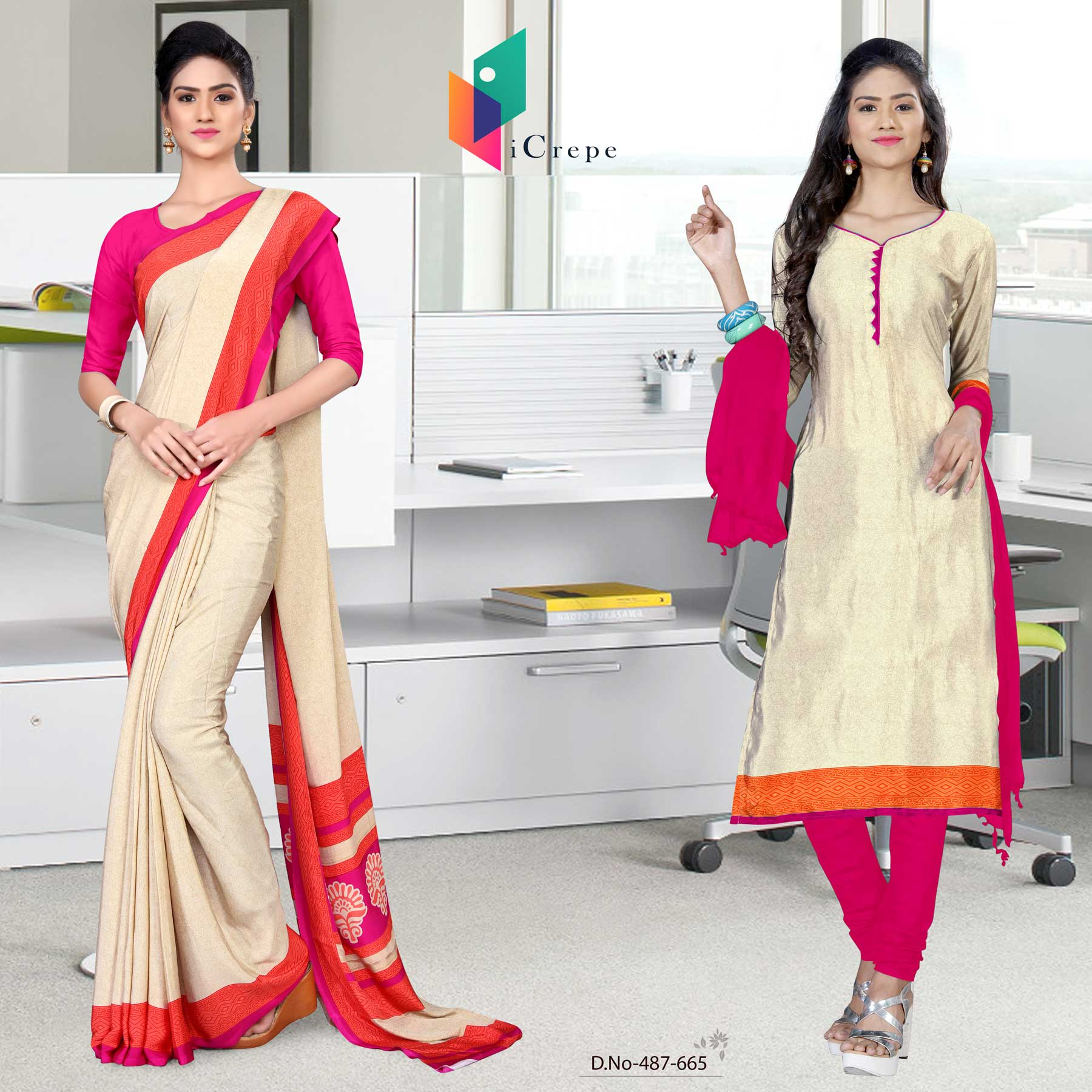 Off white and pink italian crepe silk office uniform saree salwar combo