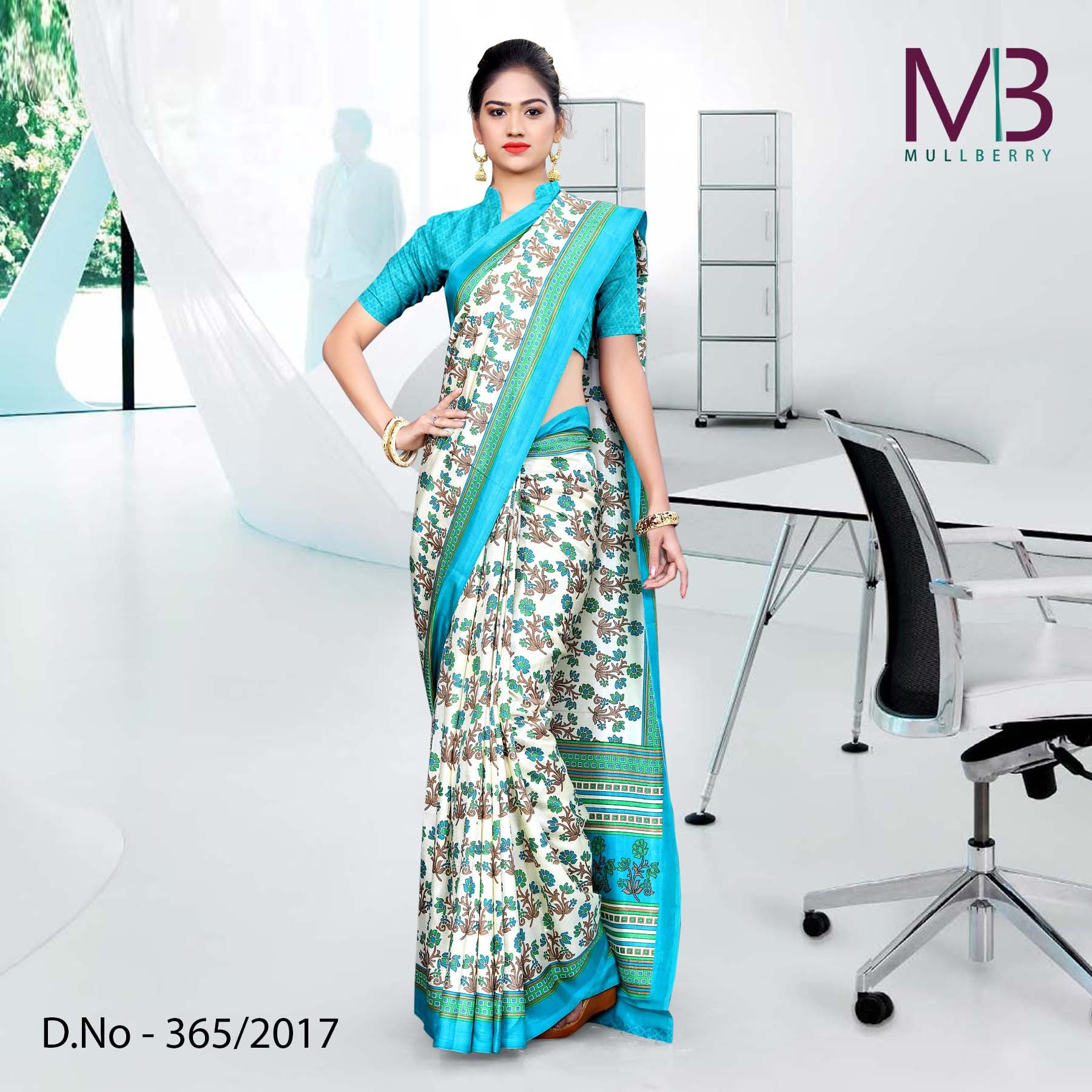 Cream with sky blue border Mulberry silk uniform saree