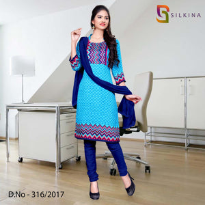 Blue Red Silk Georgette Uniform Salwar Kameez