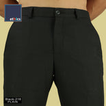 Men's Plain Black Comfort Fit Formal Trousers