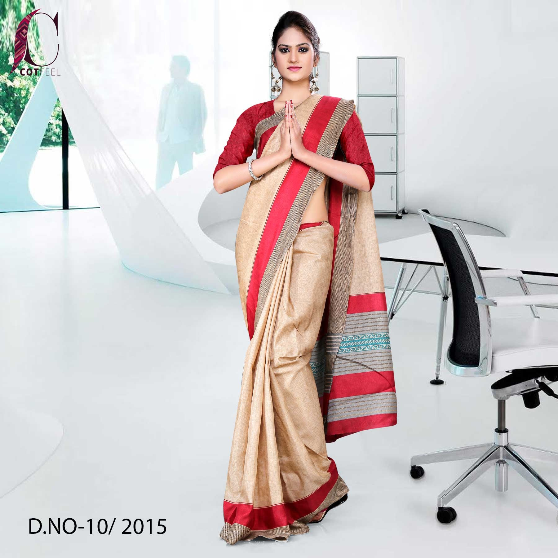 Red and Beige Tripura Cotton Uniform Saree