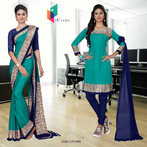 Navy blue and green italian crepe silk institute uniform saree salwar combo