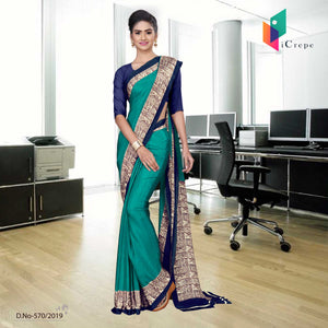 Green and purple italian crepe silk school uniform saree