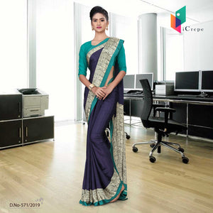 Navy Blue and Green italian crepe silk school uniform saree