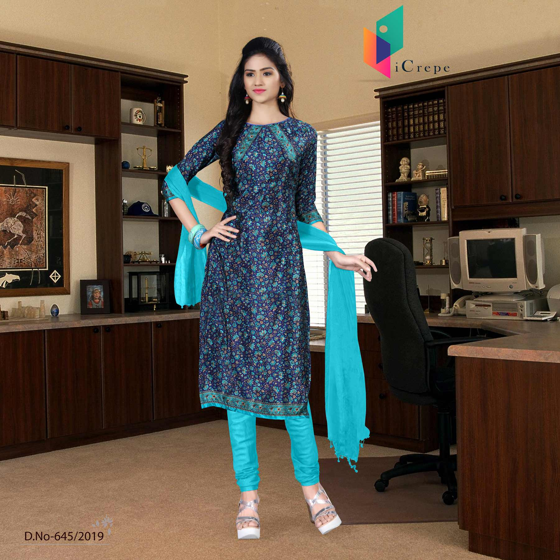 Navy blue and turquoise italian crepe silk college uniform salwar kameez