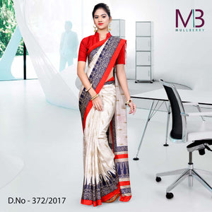 Cream with red blue border Mulberry silk uniform saree