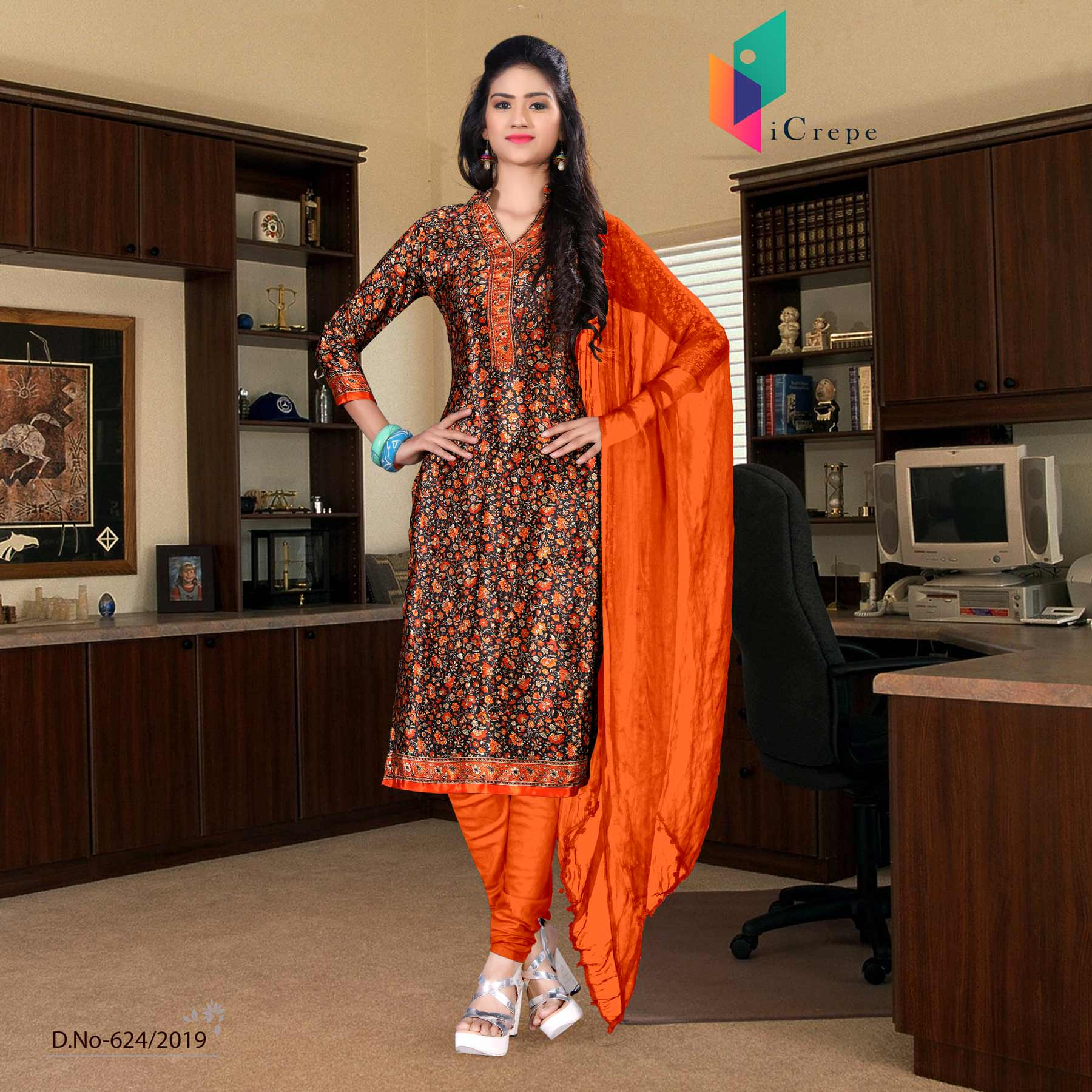 Brown and orange italian crepe silk teachers uniform salwar kameez