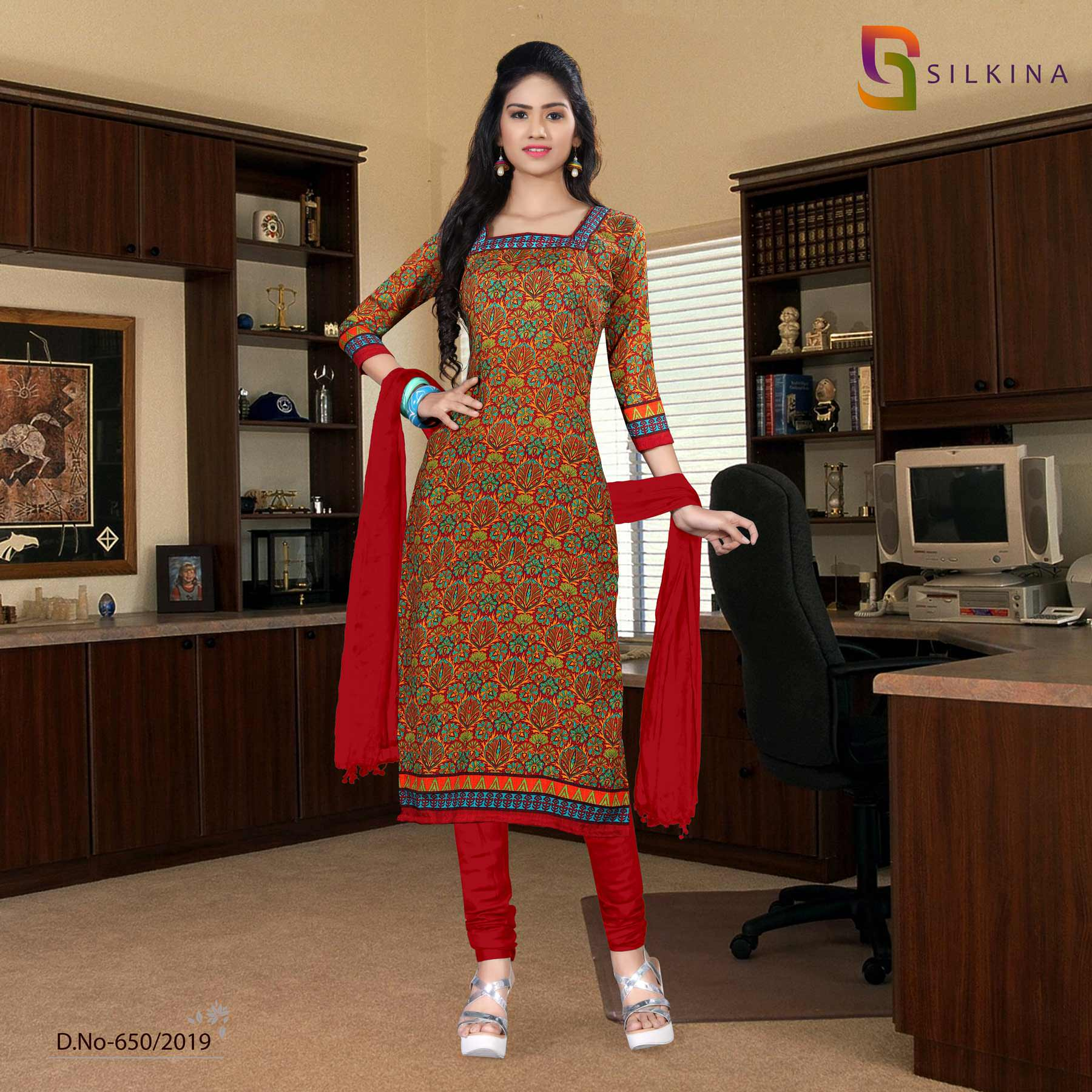 Off white  maroon Silk Georgette school Uniform Salwar Kameez