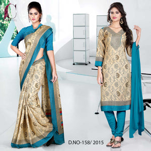 Peacock blue and beige uniform saree salwar combo