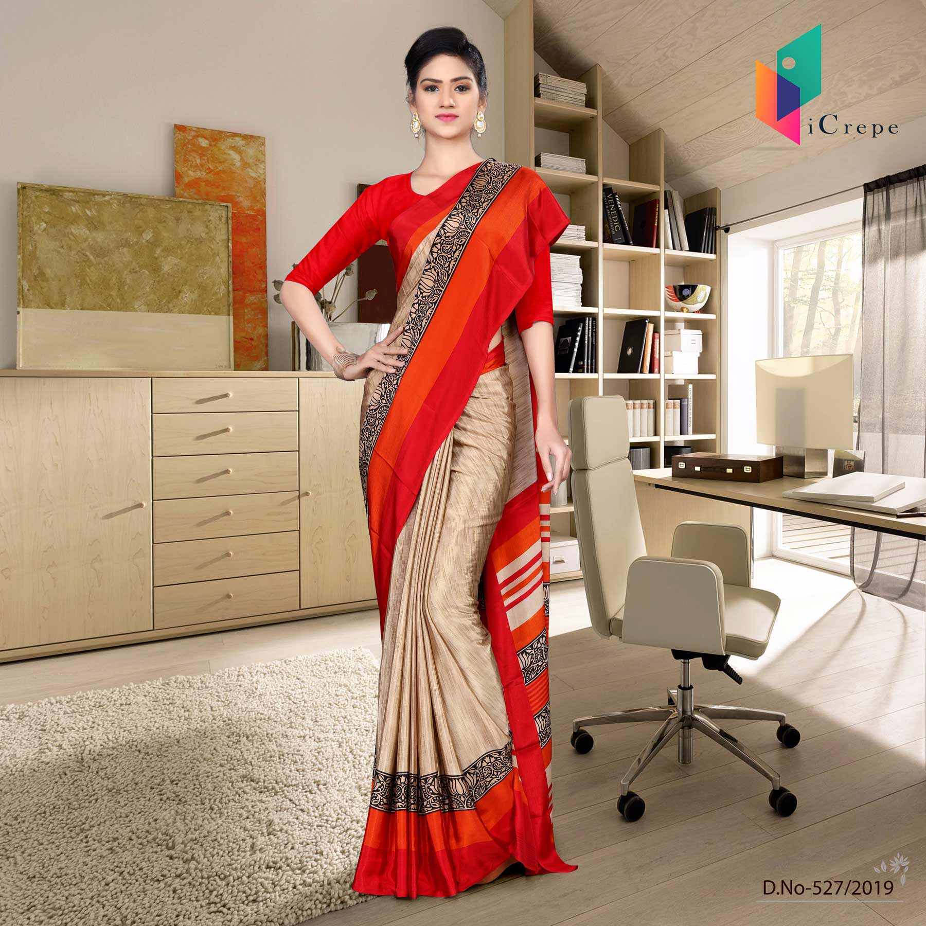 Brown and red italian crepe silk showroom uniform saree