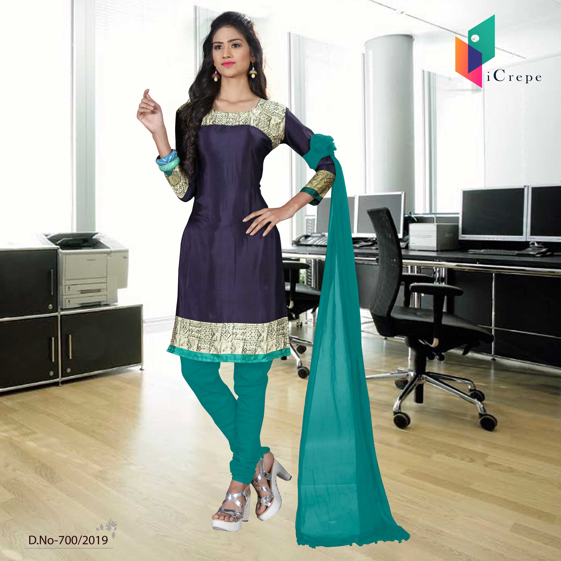 Green and Navy blue italian crepe silk institute uniform salwar kameez