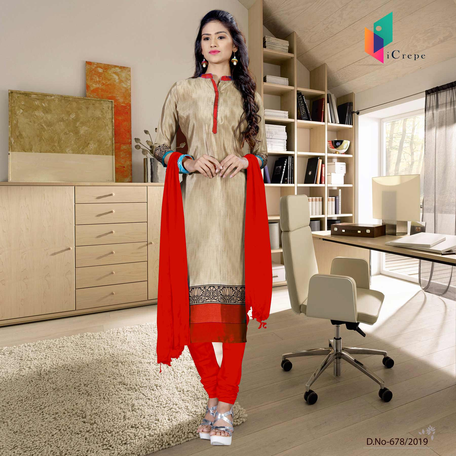 Brown and red italian crepe silk school uniform salwar kameez