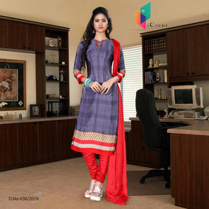 an image of voilet  and red italian crepe silk fancy uniform salwar kameez  with product logo and sku number