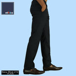 Men's Plain Navy Blue Comfort Fit Formal Trousers for Corporate Uniforms