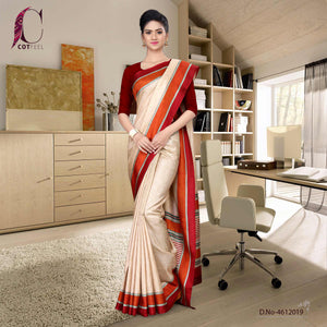 Beige and maroon tripura cotton teacher uniform saree