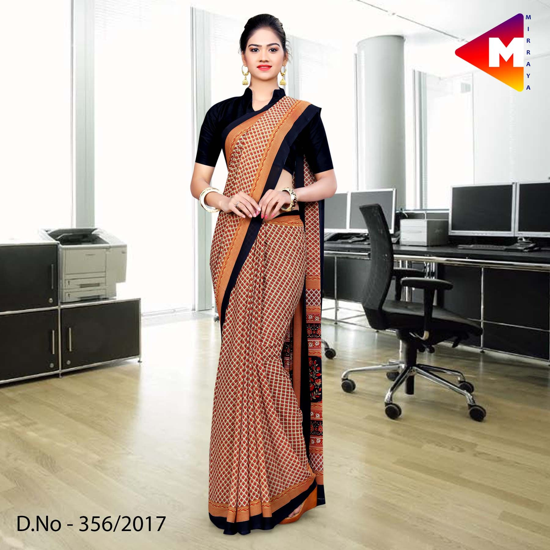 Black and brown Georgette Uniform Saree