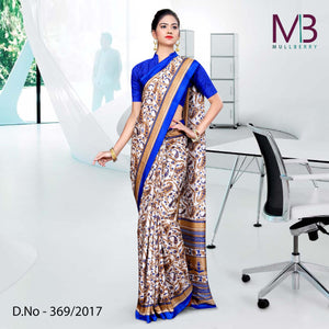 Blue and Cream Mulberry silk uniform saree