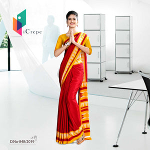 RED AND YELLOW  SCHOOL UNIFORM SAREE