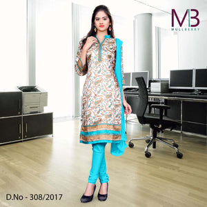 Sky blue and cream Mulberry silk uniform salwar kameez