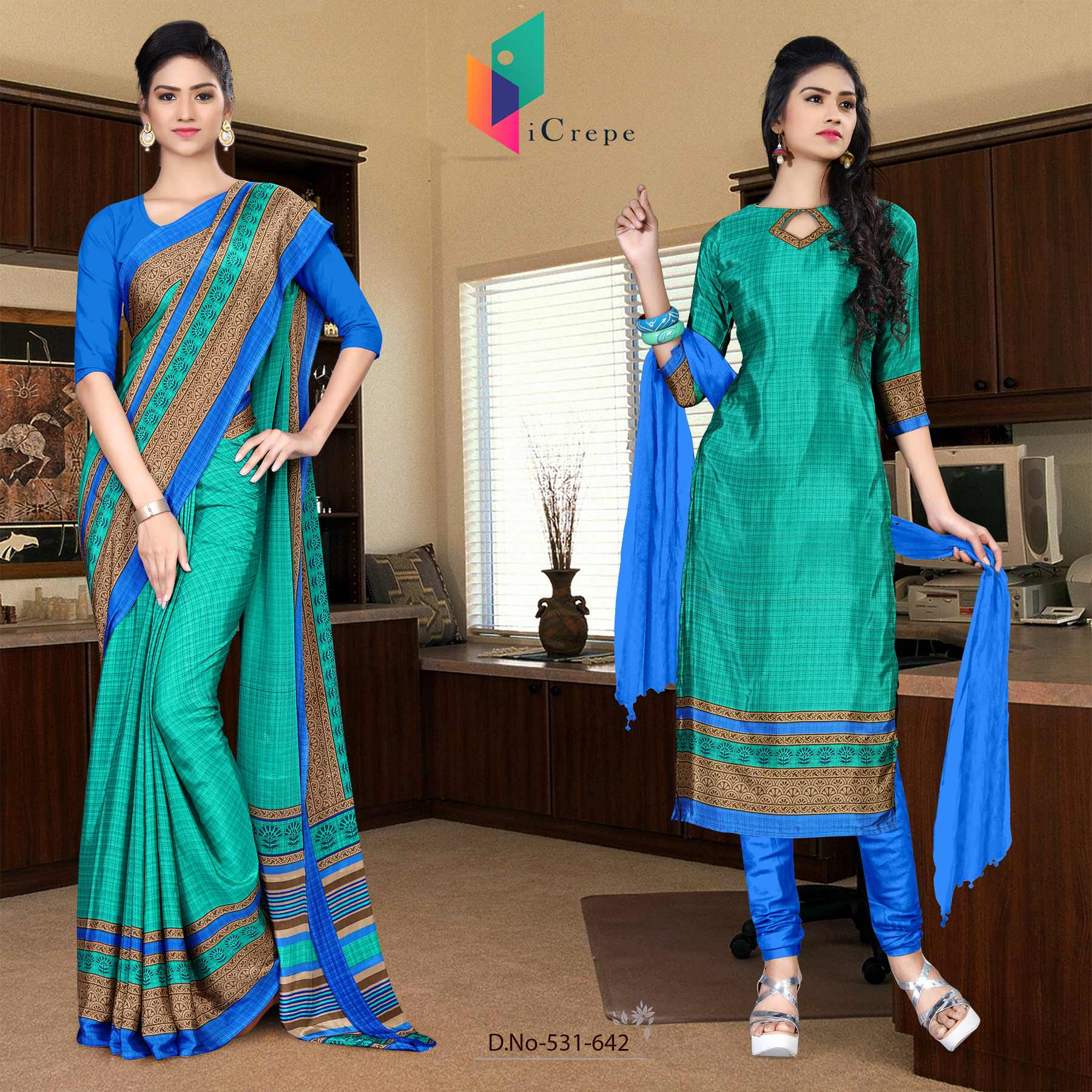 Green and blue italian crepe silk college uniform saree salwar combo