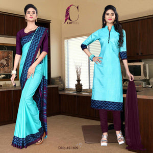 an image of turquoise and purple teacher uniform saree salwar combo with product logo and sku number