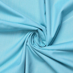 Sea Green Micro Chex Men's Cotton Unstitched Uniform Shirt Fabrics