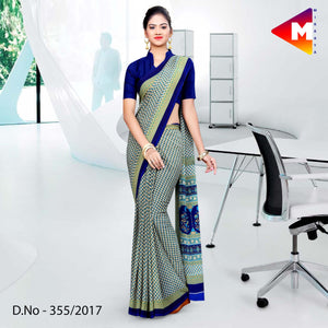 Green with blue border Georgette uniform saree