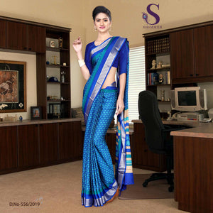 an image of Skyblue blue silk crepe jaquard border institute uniform sarees with product logo and sku number