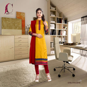 Yellow With Maroon border tripura cotton office uniform salwar kameez