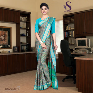 Off white turquoise silk crepe jaquard border college uniform sarees