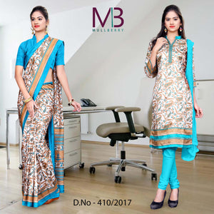 Cream and blue Mulberry silk uniform Saree salwar combo