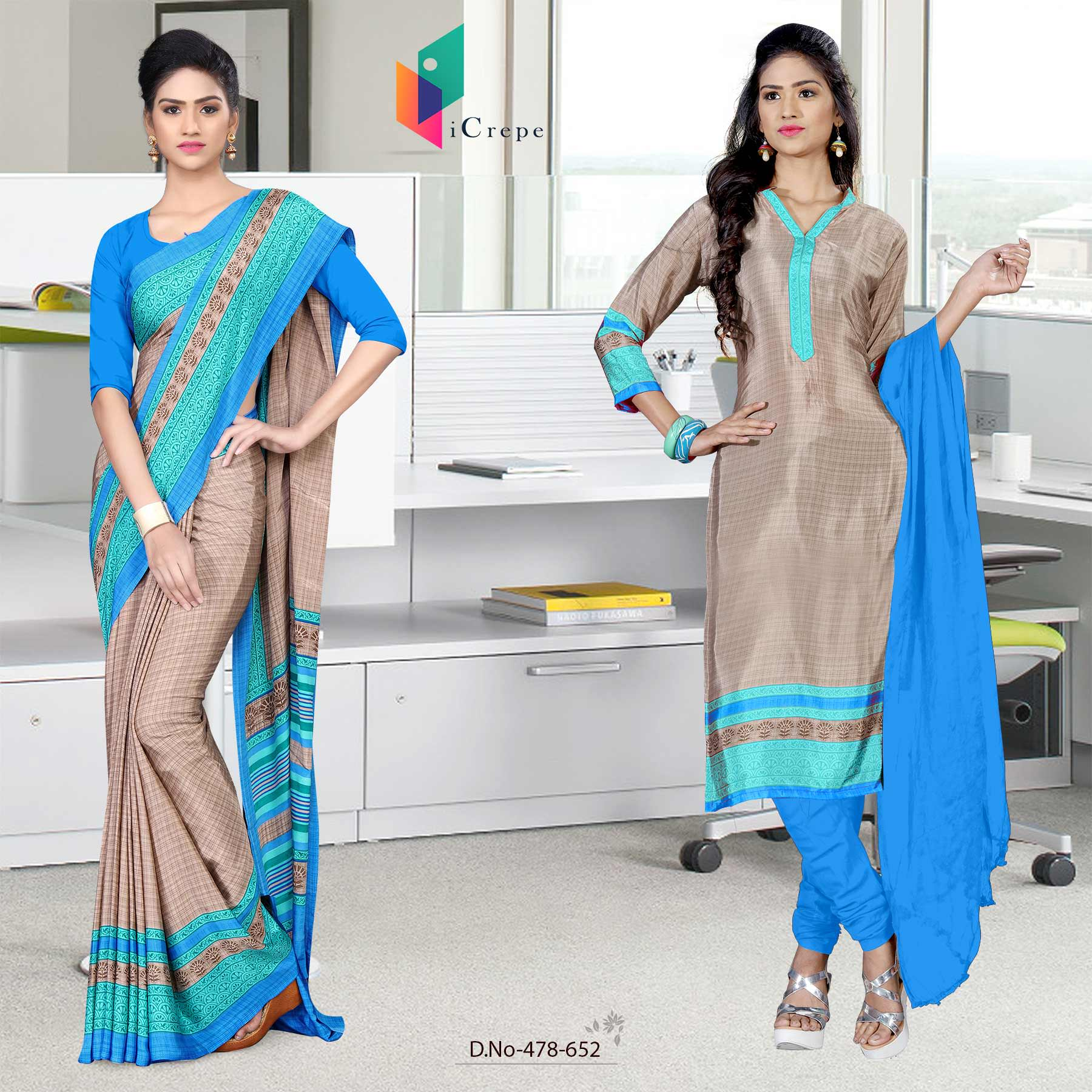 Beige and blue italian crepe silk teachers uniform saree salwar combo