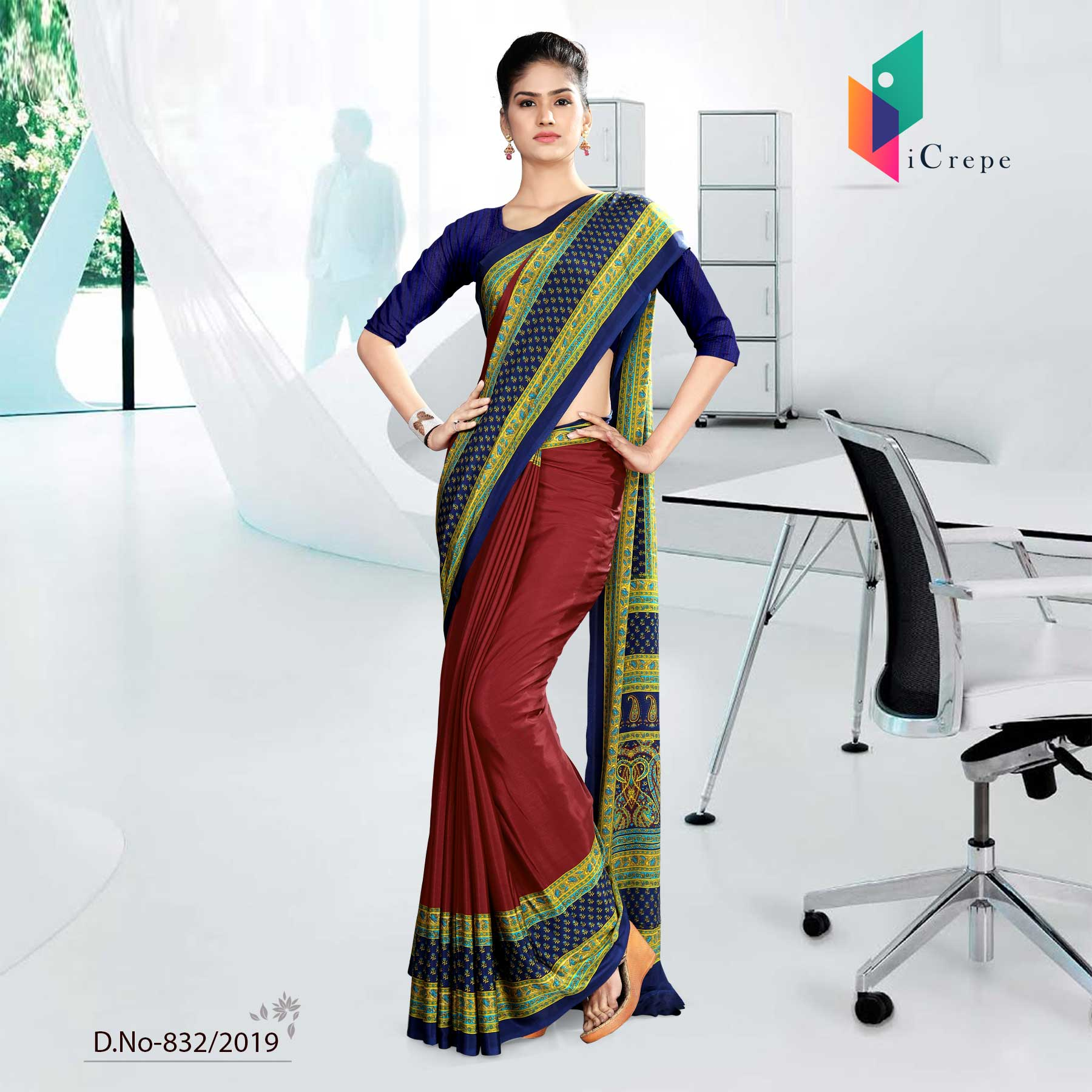 GREEN AND MAROON CORPORATE UNIFORM SAREE
